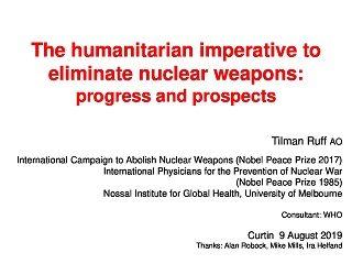 Professor Tilman Ruff AO Curtin Corner presentation