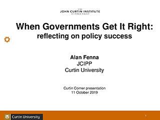 Alan Fenna Curtin Corner presentation