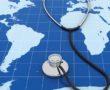 image of stethoscope on world map